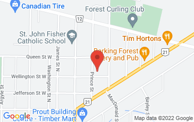 Map to Forest Baptist Church in Forest, ON